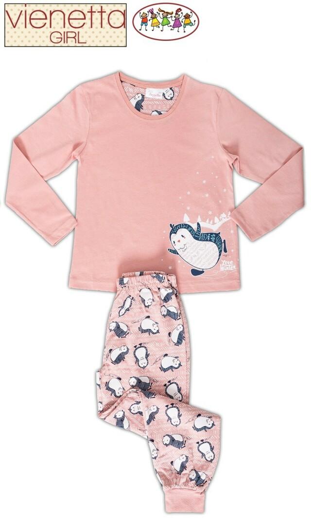 Dětské pyžamo dlouhé Tučňák na sněhu - tyrkysová 7 - 8