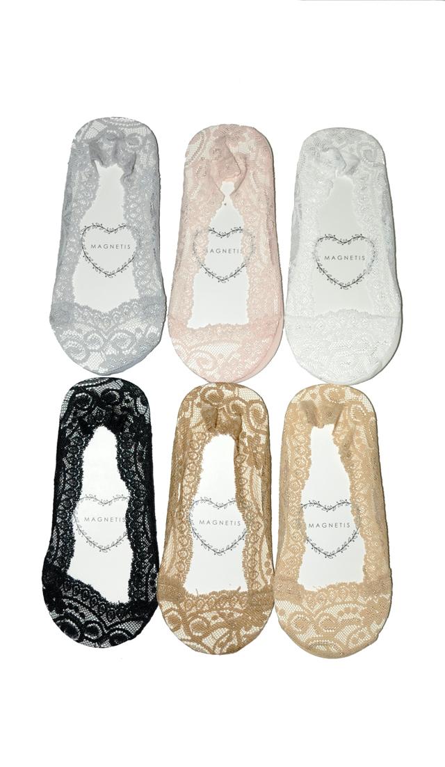 Dámské ponožky baleríny Magnetis Koronka 13328 Silikon ABS - univerzální - béžová