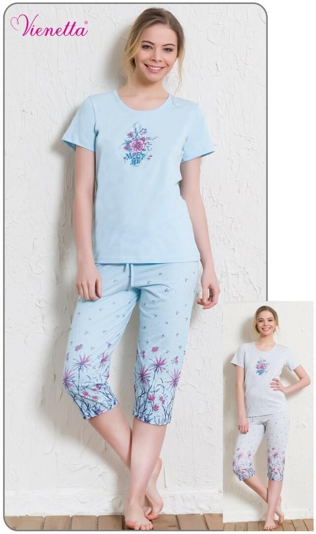 Dámské pyžamo kapri Květy - šedá L