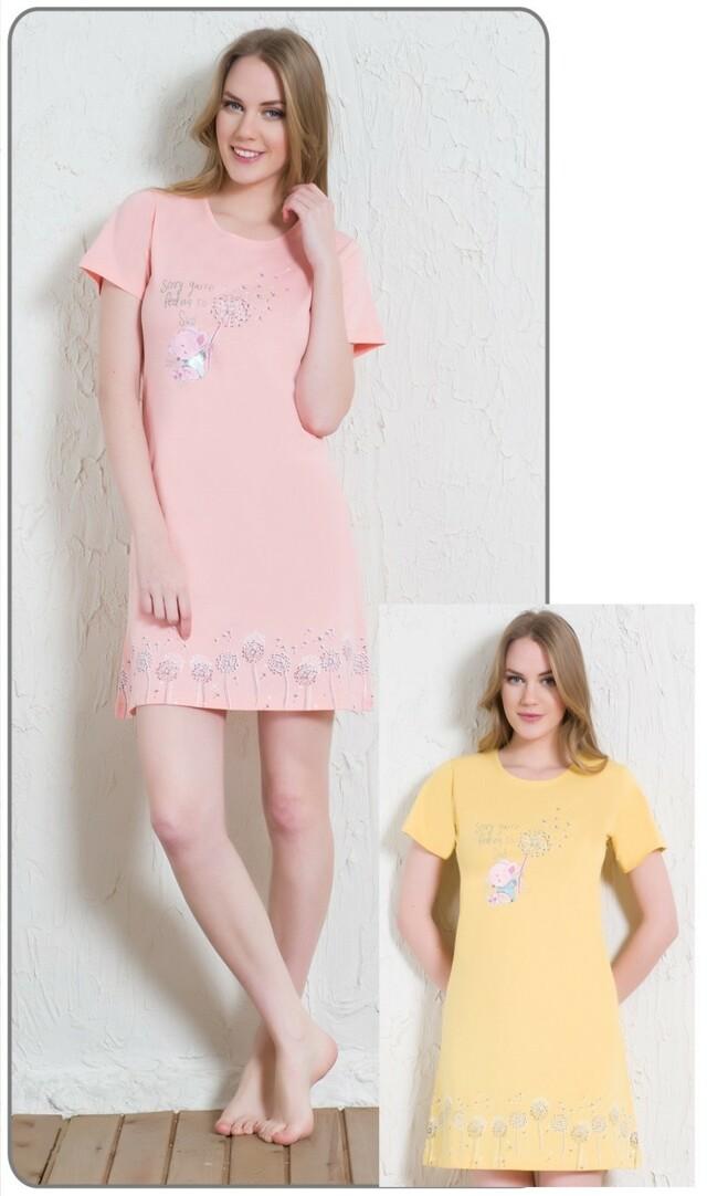 Dámská noční košile s krátkým rukávem Myš s pampeliškou