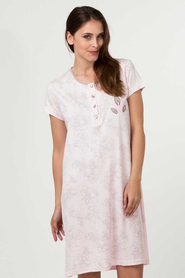 Dámská noční košile CTC.2001-Cotton Candy - S - růžovo-fialový květ