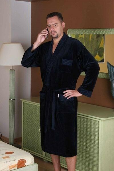 Pánský župan Forex | Welur 712 dlouhý - M - jeans