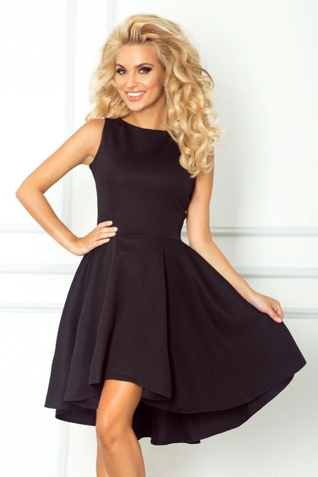 Černé šaty s delší zadní stranou 66-2
