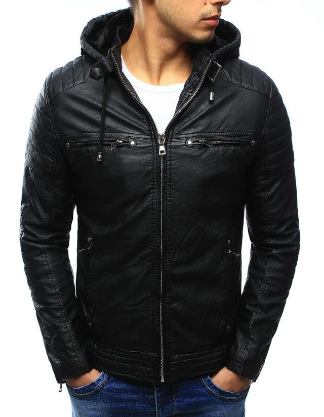 Pánská kožená bunda s kapucí JUN9119 (tx1660A) - Fei Fa fashion - M - černá