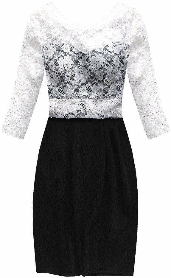 Černo-bílé šaty s výstřihem na zádech (88141) - S (36) - bílá