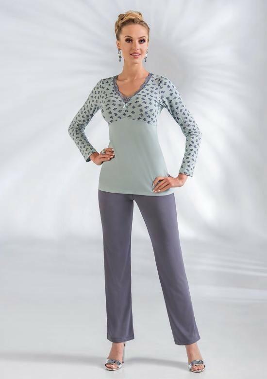 Dámské pyžamo Tina - Donna - L-40 - šedo-fialová