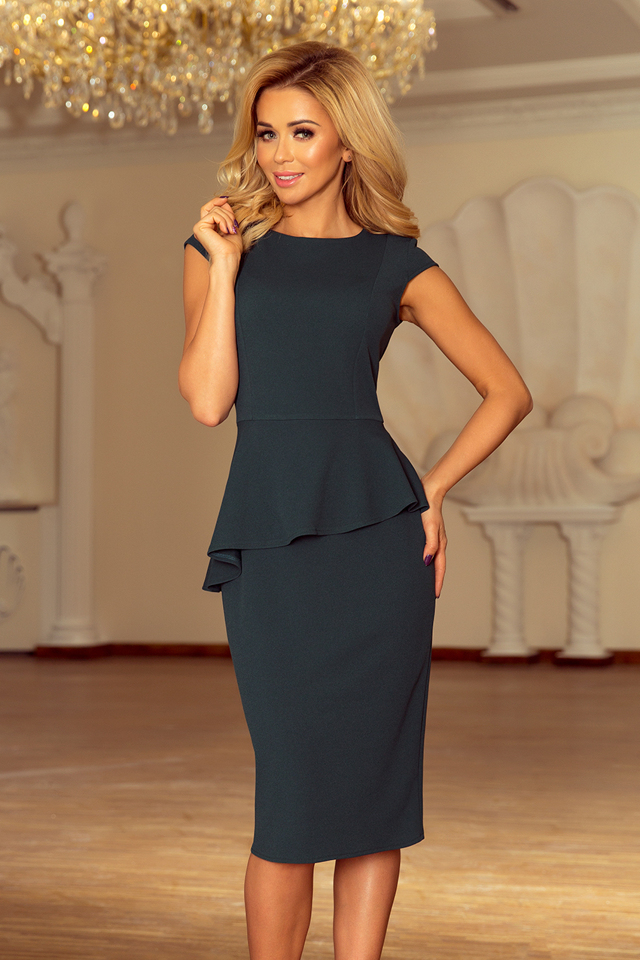d0d7e138910c Elegantní dámské midi šaty v lahvově zelené barvě s volánkem 192-1 - S