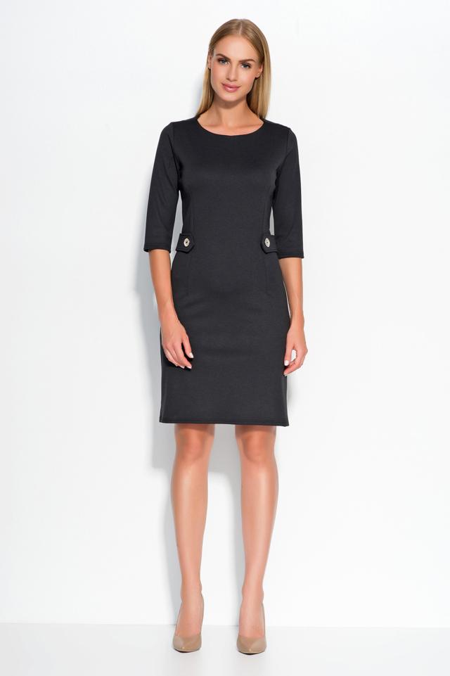 Dámské šaty značkové zdobené v pase knoflíky středně dlouhé černé - Černá - Makadamia - 36 - černá