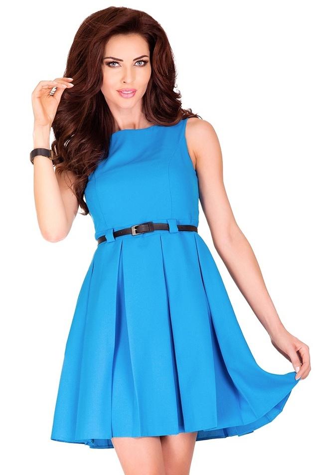 Modré šaty s kontravolány 6-7