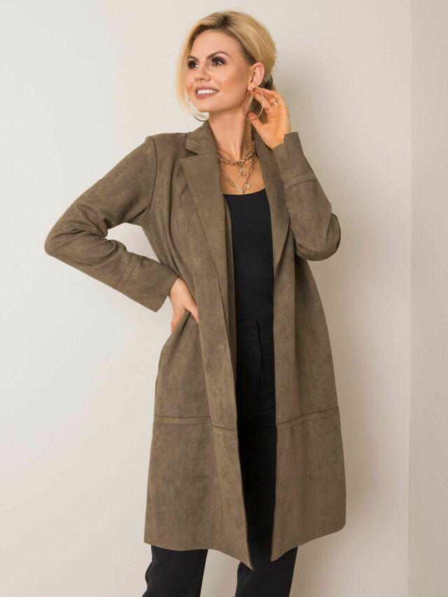 Khaki ekologický semišový kabát STITCH & SOUL - M
