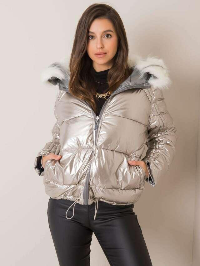Oboustranná stříbrně béžová zimní bunda s kožešinou - S