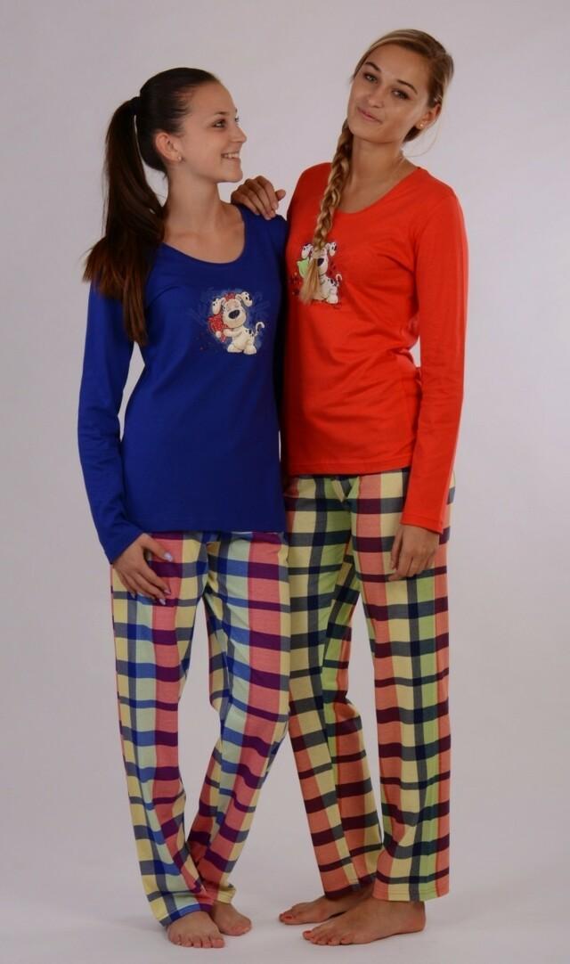 Dámské pyžamo dlouhé Pes a polštář - tmavě modrá XL