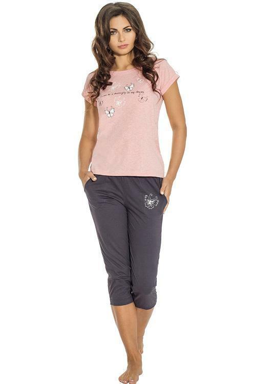 Dámské pyžamo Luna 653-2 - XXL - růžová-šedá