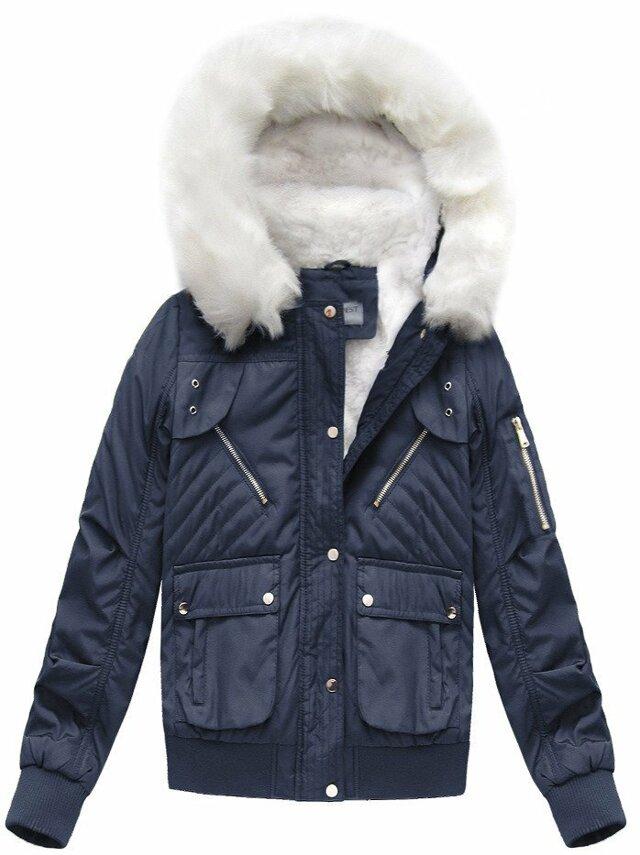 Tmavě modrá dámská zimní bunda s kapucí (B3706-30)