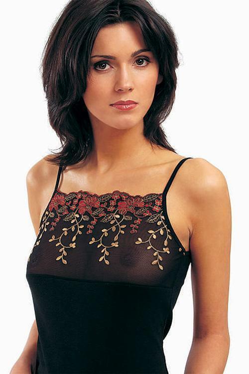 Spodní košilka Violana Stella black - ramínka - M - černá