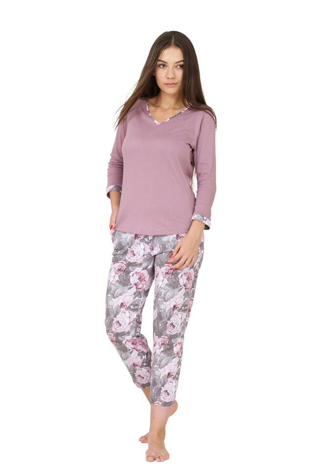 Dámské pyžamo M-Max Mada M-2XL 3/4 - XL - šedá