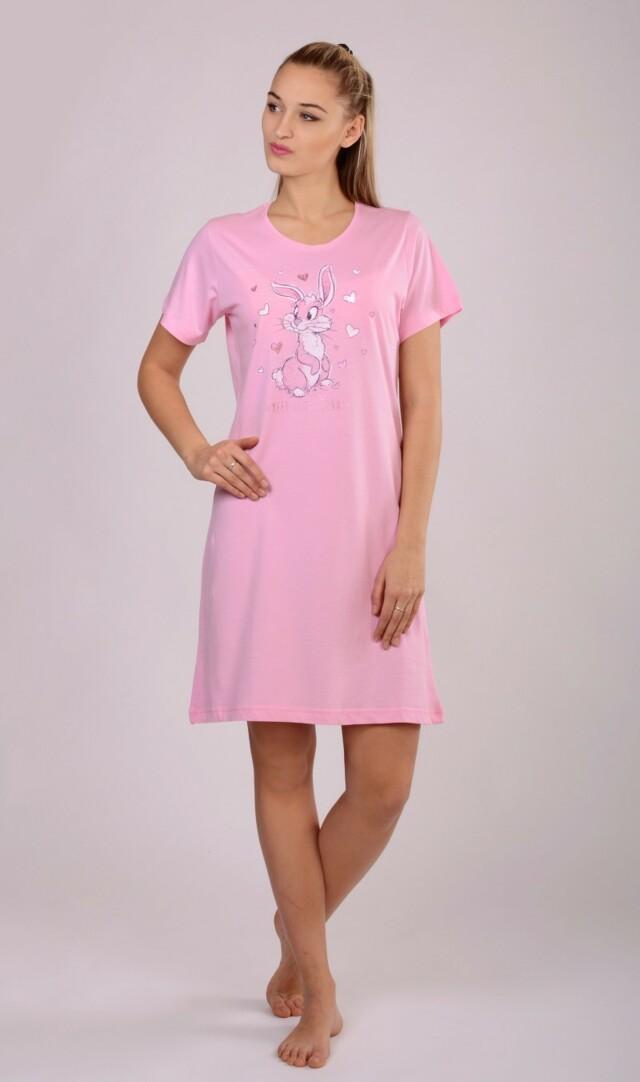 Dámská noční košile s krátkým rukávem Zajíc Happy