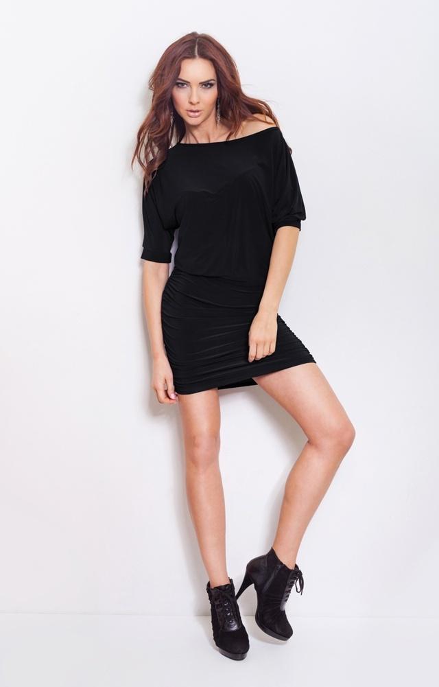 Černé šaty s nabíráním na bocích 16-2