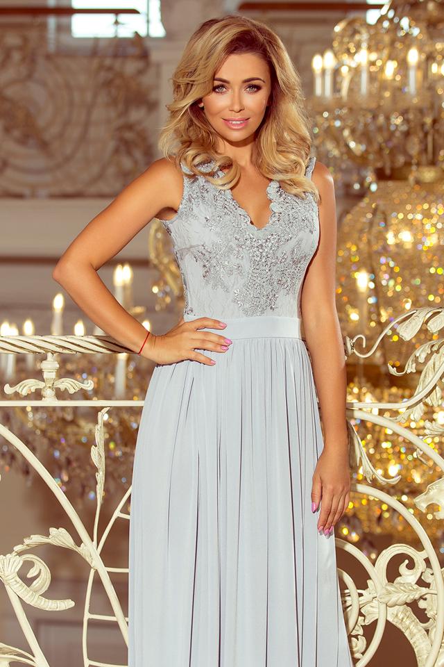 7b6300b6f4df LEA - Dlouhé dámské šaty ve stříbrné barvě bez rukávů a s vyšívaným  výstřihem 215-1