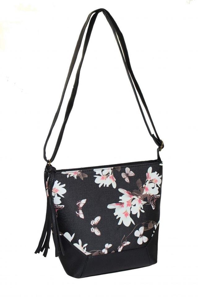 Dámská taška s květinovým motivem - univerzální - Černá
