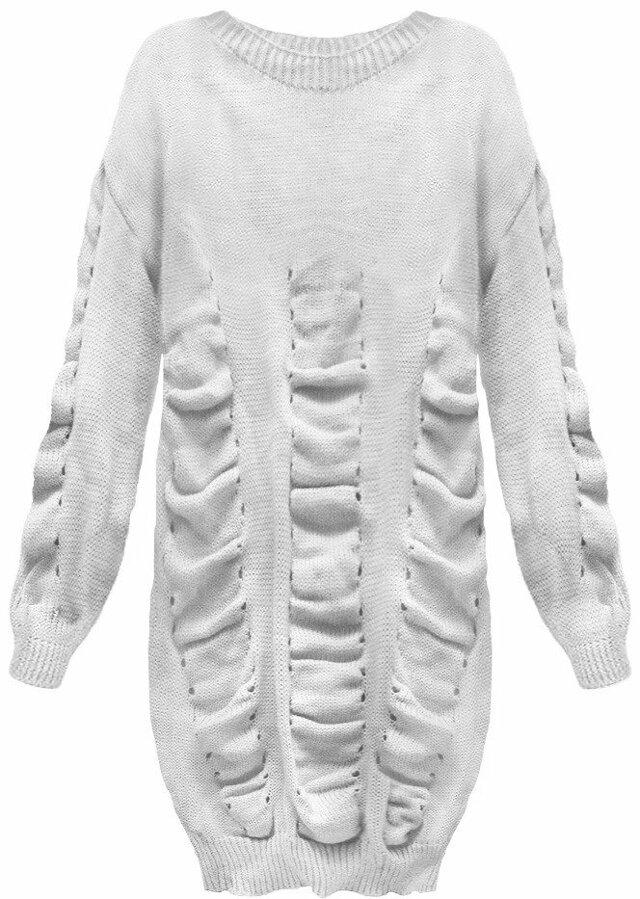Světle šedý dámský svetr s nabíráním (181ART) - ONE SIZE - šedá
