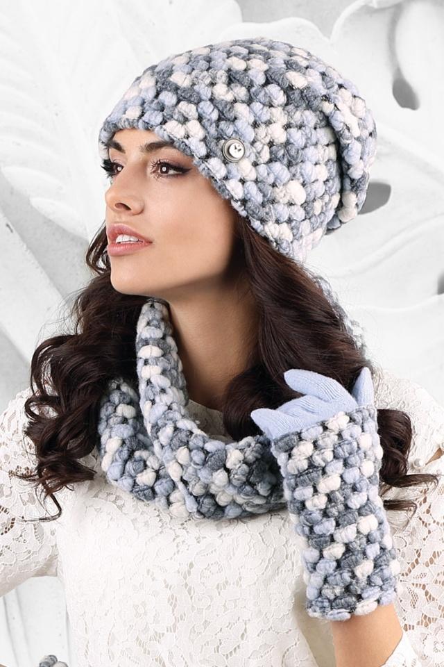 Dámský komplet MERANO - čepice + šála + rukavice modrá - Kamea - uni - modrá 479f59a19d