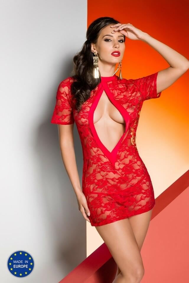 Erotická košilka Rika chemise red - L/XL - červená