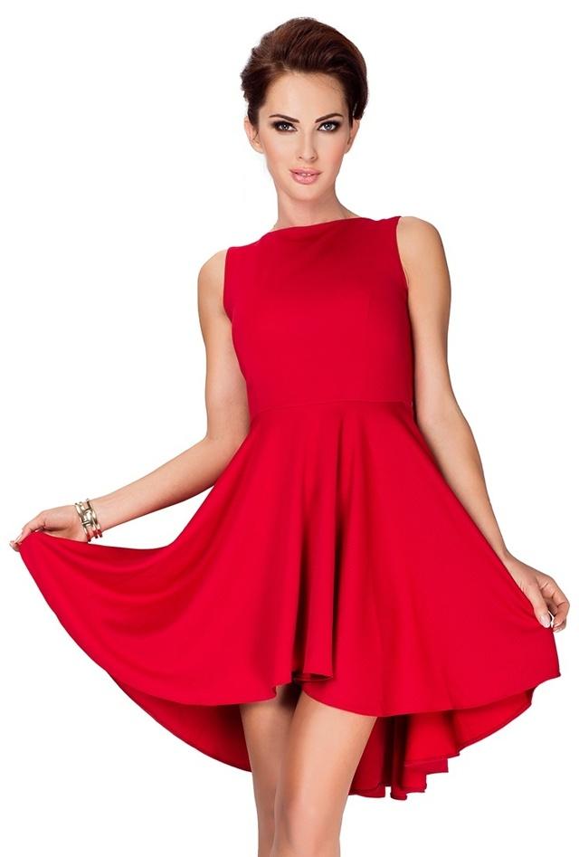 Červené šaty s delší zadní stranou 33-2