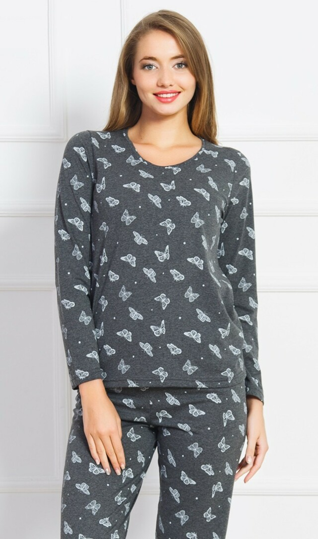 Dámské pyžamo dlouhé Butterflies - tmavě šedá S