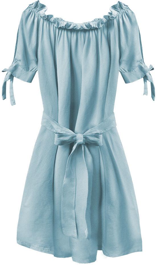 Světle modrá dámská tunika ve španělském stylu s páskem (279ART) - jedna velikost - modrý
