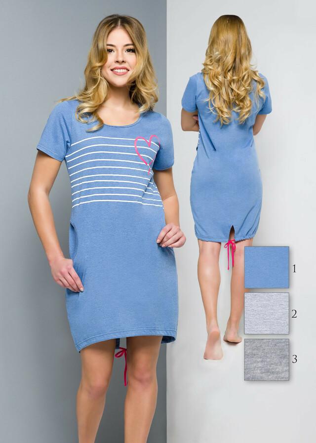 Noční košile Regina 309 kr/r S-XL - S - tmavá žíhaná