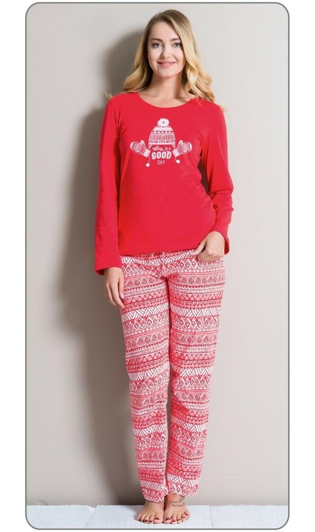 Dámské pyžamo dlouhé Zima - červená XL