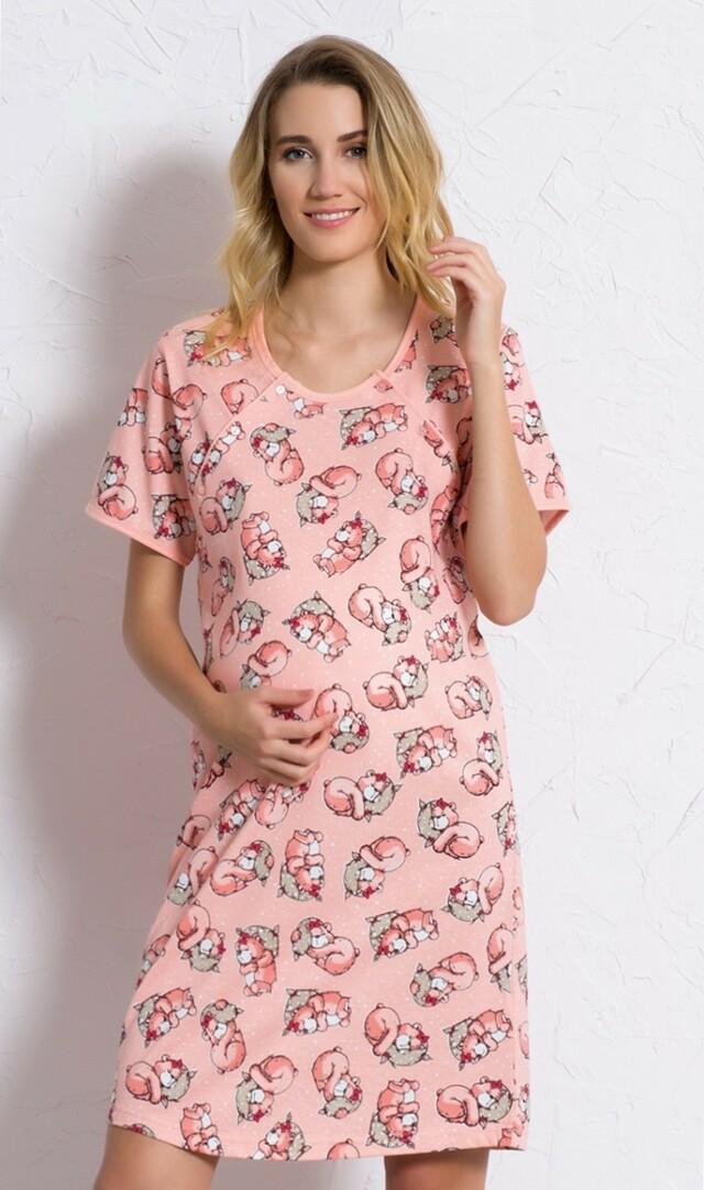 Dámská noční košile mateřská Méďa s polštářem 6055 - Vienetta - XL - lososová-medvídek
