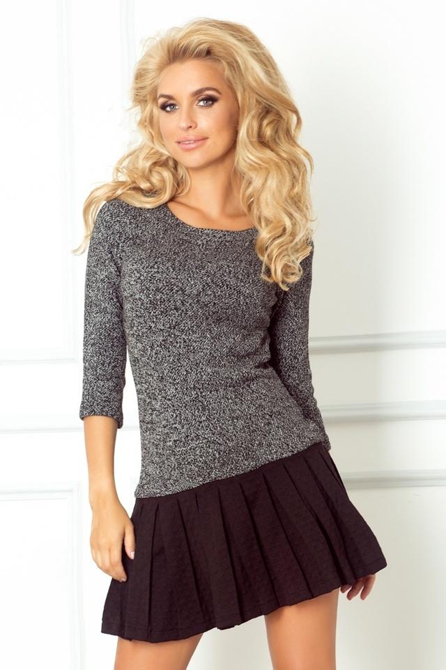Svetrové šaty s plisovanou sukýnkou 73-1