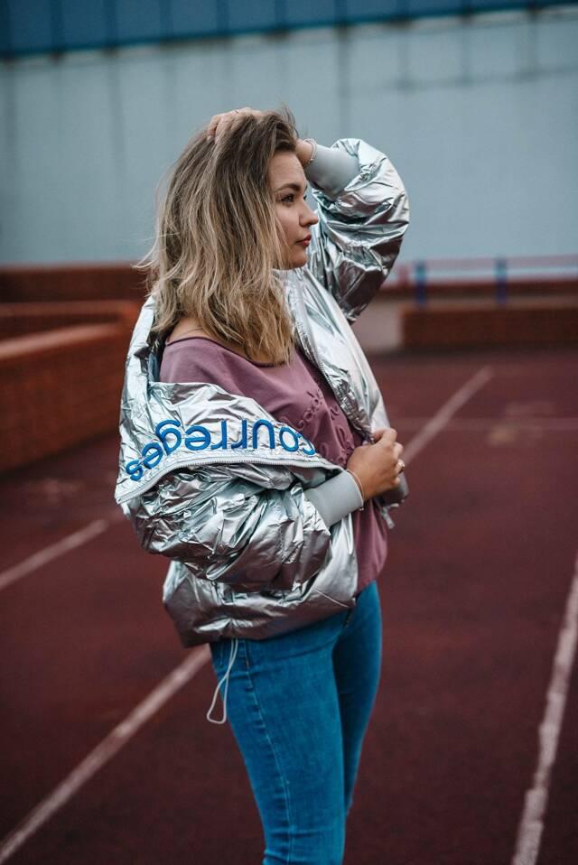 Stříbrná lesklá dámská bunda (619ART) - ONE SIZE - stříbrná
