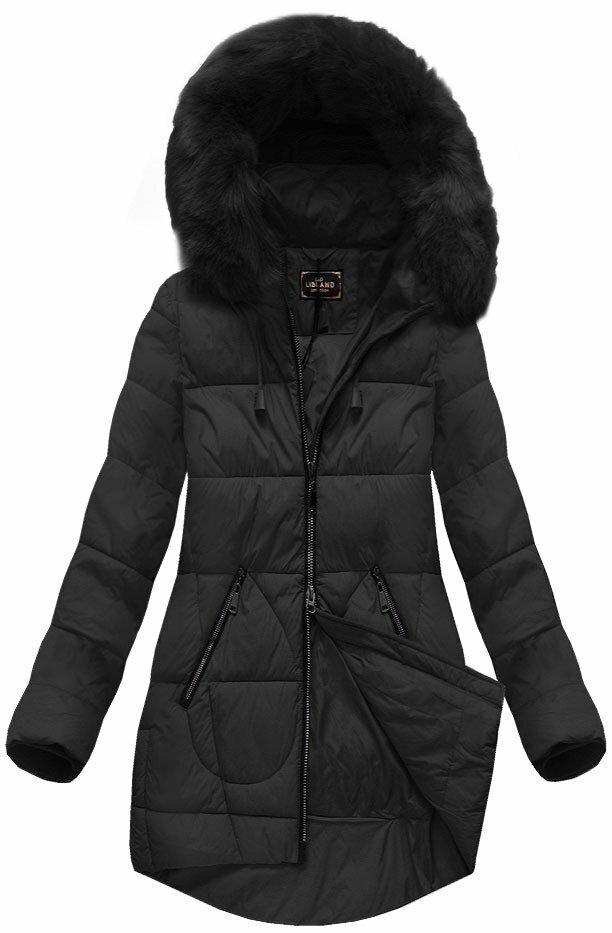 Černá dámská zimní bunda s kapucí (7703) - XXL (44) - černá