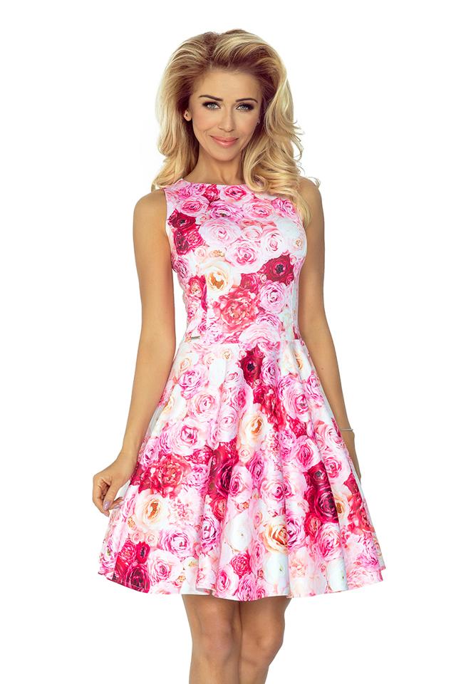 Růžové šaty kolového střihu s lodičkovým výstřihem 125-16 - M be13c1a52d