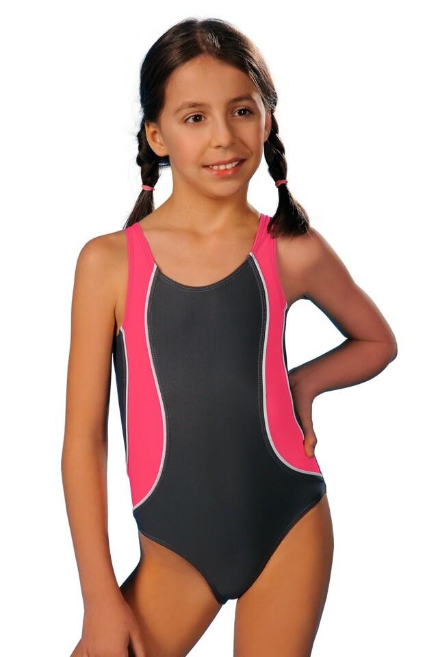 Dívčí jednodílné plavky Ala šedorůžové