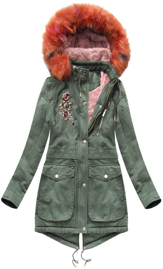 Khaki zimní dámská parka s kapucí(K5003) - XL (42) - khaki