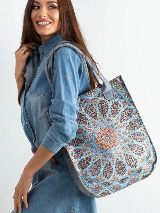 Plstěná šedá taška s potiskem - jedna velikost