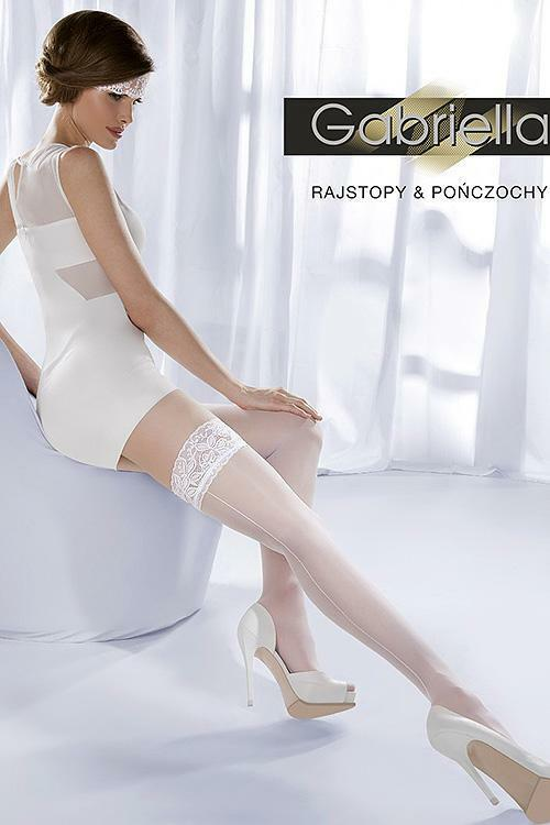 Stylové samodržící punčochy Gabriella Wedding Princessa 05 Code 189 - 3/4-M/L - bianco