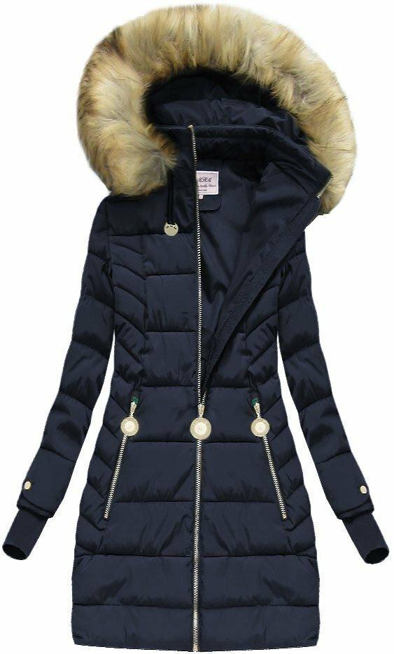 Tmavě modrá dámská zimní bunda (W721) - XL (42) - tmavěmodrá