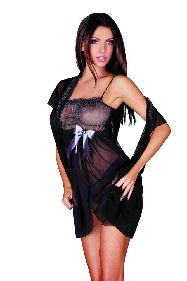 Erotická košilka 893 Adell black - M - černá