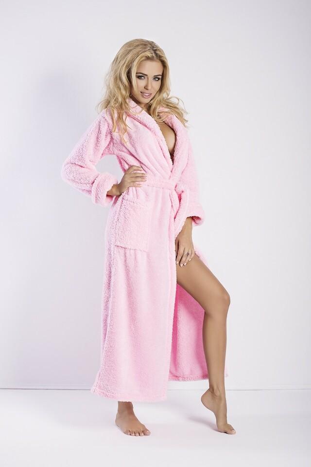 Dámský župan Eliza long pink - S - růžová