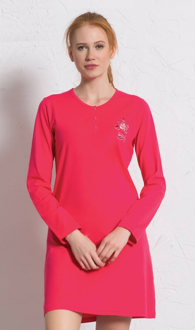 Dámská noční košile s dlouhým rukávem Julie - jahodová S