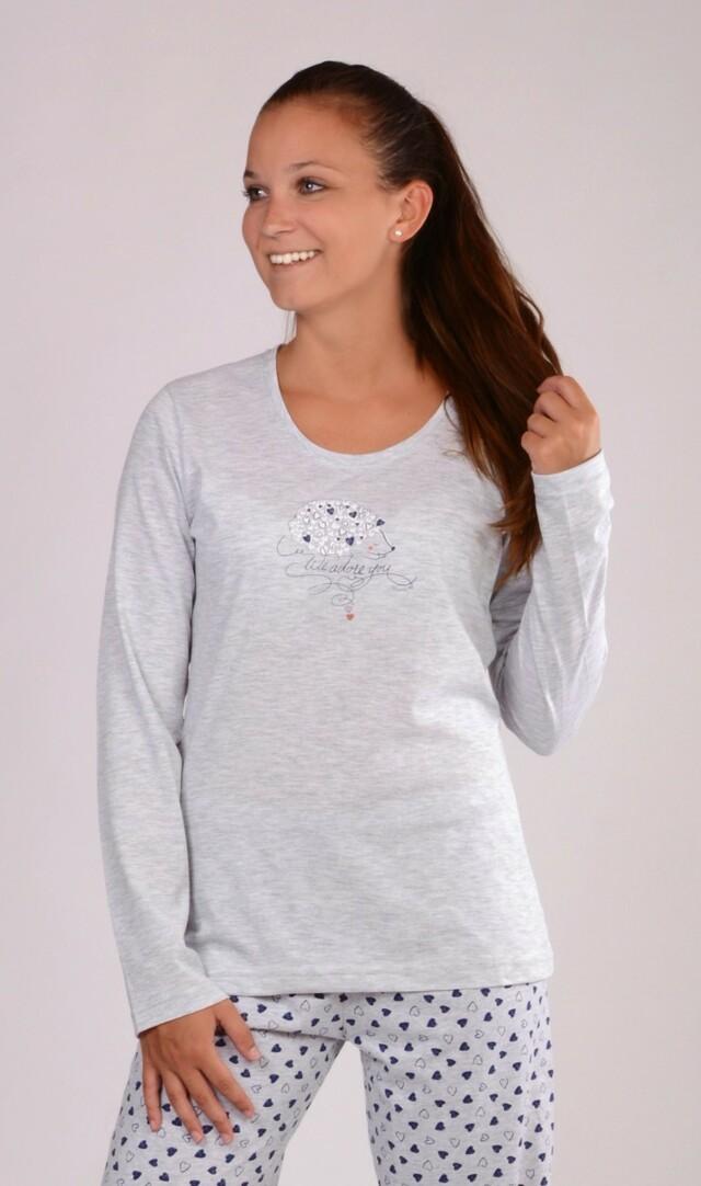 Dámské pyžamo dlouhé Ježek - světle šedá XL