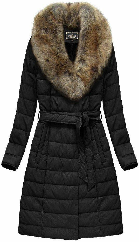 Černý dámský dlouhý kabát (5528BIG) - 50 - černá