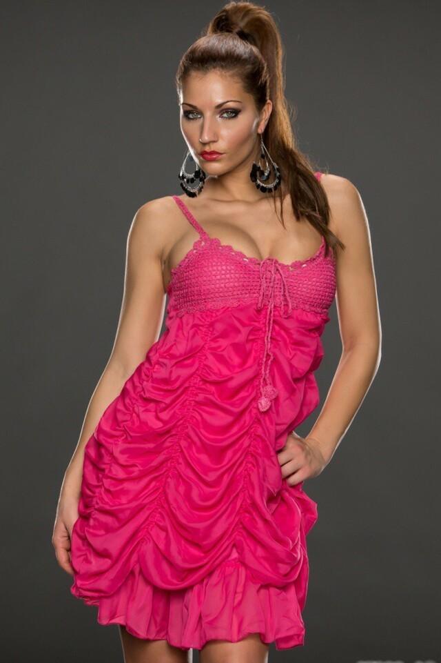 Růžové mini šaty - L