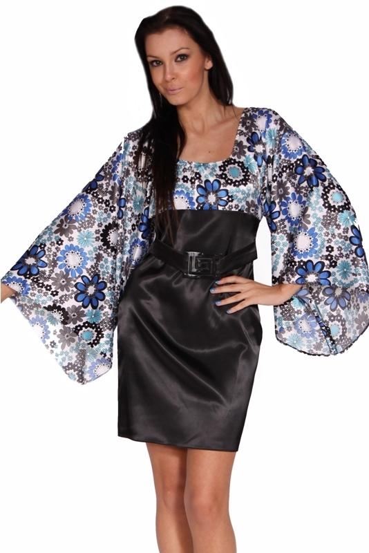 Saténové šaty s rukávem - M