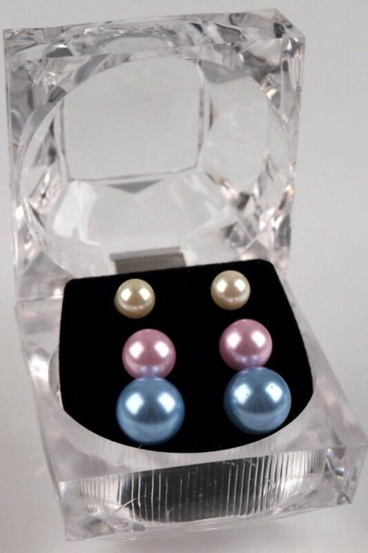 Dámské náušnice perlové - sada 3ks